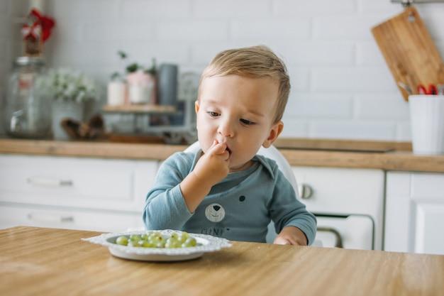 Encantador pequeño bebé concentrado comiendo la primera comida uva verde en la cocina brillante en casa