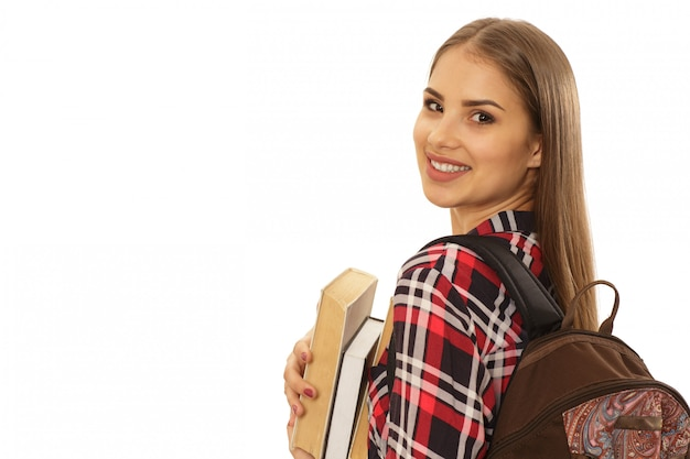 Encantadora estudiante con una mochila