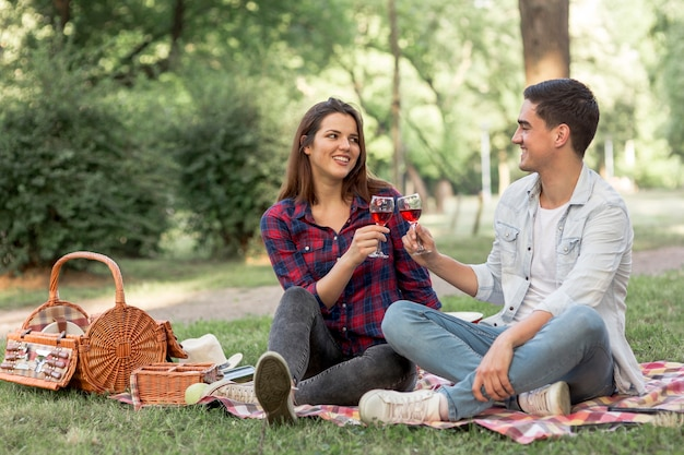 Encantadora pareja tintineo copas de vino en picnic
