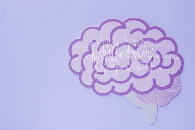 Encefalografía, recorte de papel del cerebro, conciencia de la epilepsia, trastorno convulsivo, concepto de salud mental