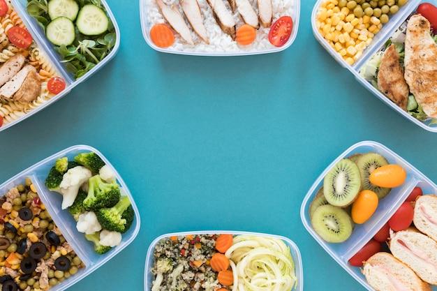 Por encima de vista marco comida sana