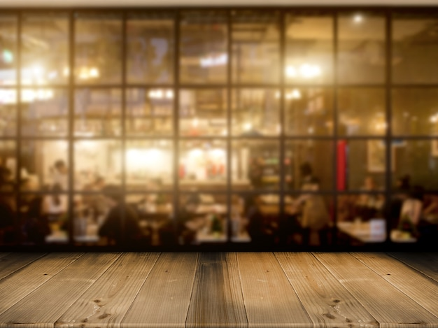 Encimera de mesa de madera con fondo de club de café de noche