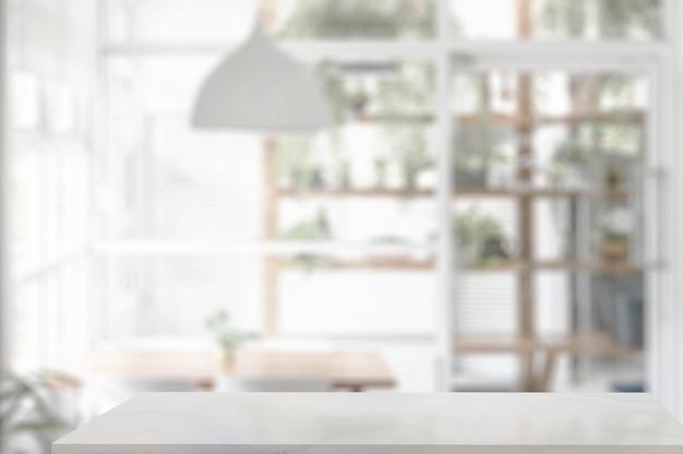 Encimera de mesa de mármol en la sala de estar