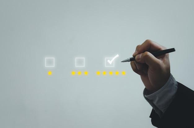Encuesta de satisfacción de servicio al cliente de concepto de negocio y comentarios
