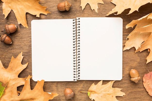 Endecha plana de cuaderno con hojas de otoño y bellotas