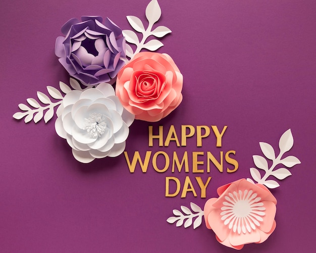 Endecha plana de hermosas flores de papel para el día de la mujer.