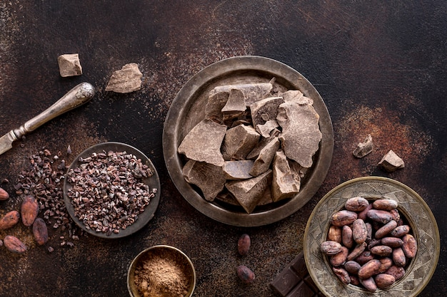 Endecha plana de trozos de chocolate en un plato con cacao en polvo y frijoles