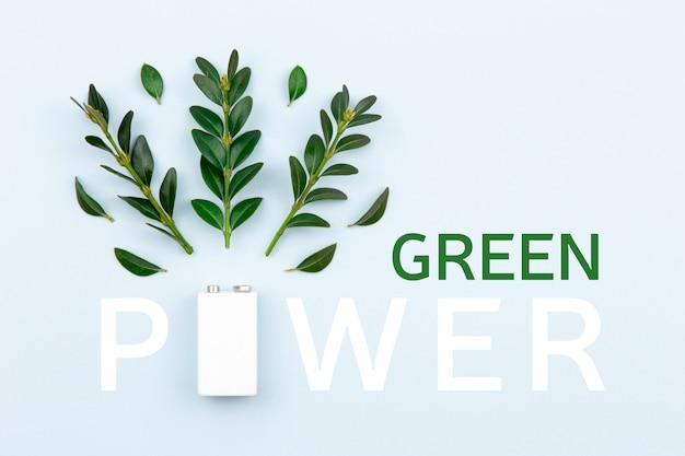 La energía ecológica y la ilustración de texto de 'poder verde' con una batería blanca y ramitas se van sobre un fondo claro con espacio de copia para texto.