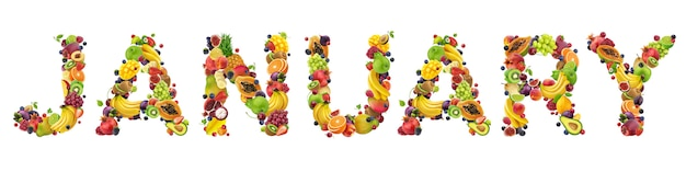 Enero palabra hecha de diferentes frutas y bayas