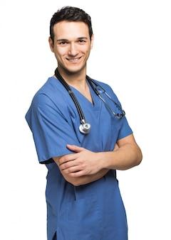 Enfermera hombre aislado en blanco