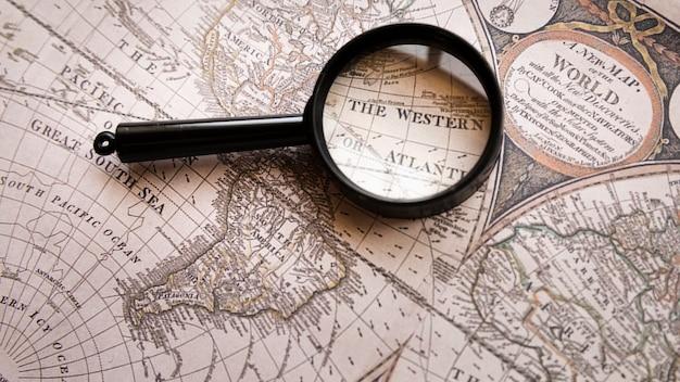 Enfocado el lugar occidental en el mapa