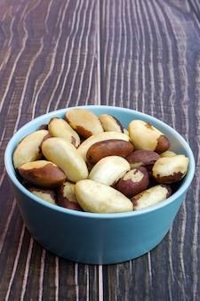 Enfoque selectivo de castaña de brasil nueces de brasil
