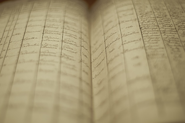 Enfoque suave de un viejo libro de registros locales con una lista de nombres e información de los residentes