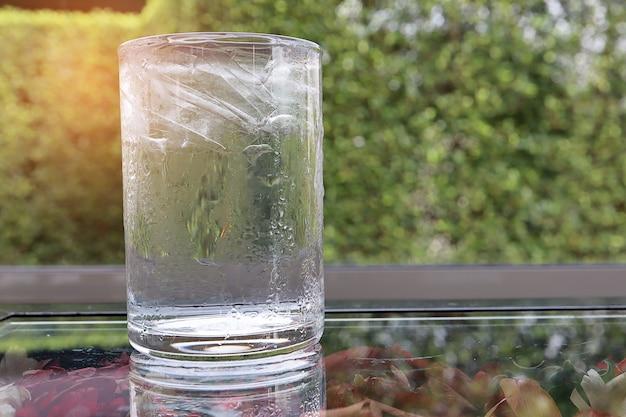 Enfríe el agua potable en un vaso con hielo dentro de la mesa de vidrio con una flor seca debajo