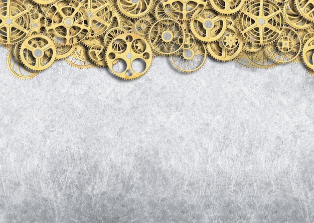 Engranaje dorado, fondo industrial del mecanismo de ruedas con dientes