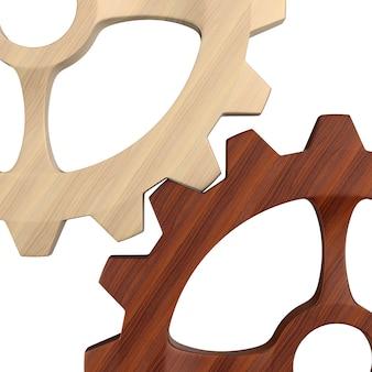 Engranaje de madera en blanco. ilustración 3d aislada