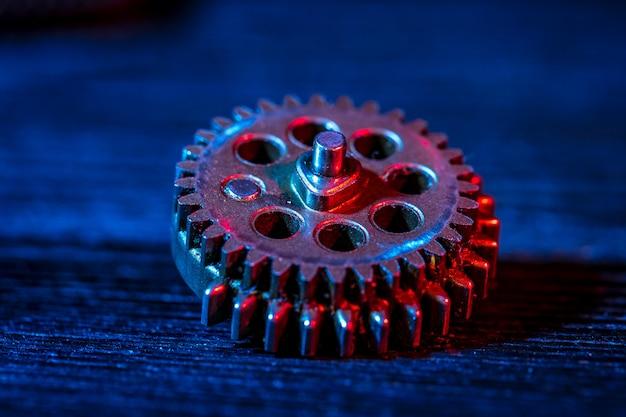 Engranajes parte de maquina. color neon.