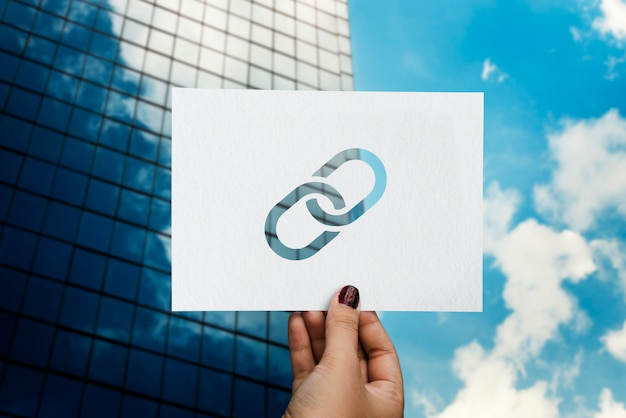 Enlace corporativo conectado papel perforado