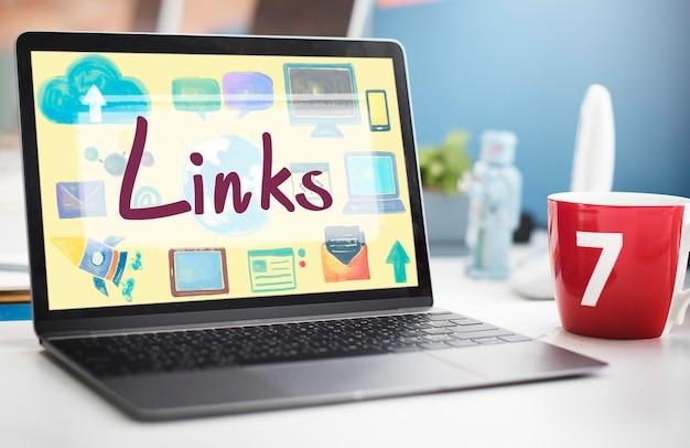 Enlaces vínculos de retroceso hipervínculo vinculación concepto en línea de internet