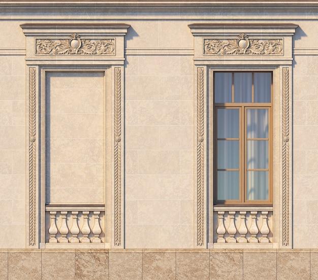 Enmarcado de ventanas en estilo clásico sobre la piedra. representación 3d