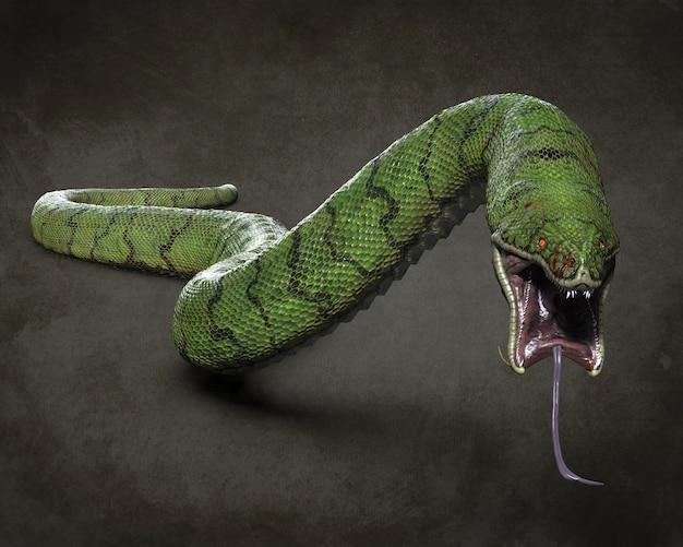Una enorme serpiente depredadora. ilustraciones 3d
