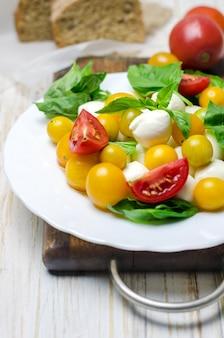 Ensalada de mozzarella fresca, tomate y albahaca.