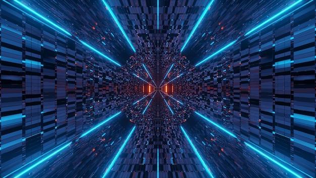 Entorno cósmico con luces láser de neón de colores