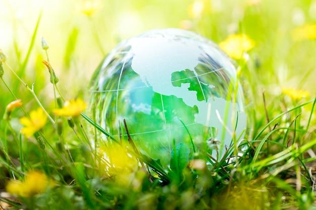 Entorno verde y ecológico, globo de cristal en el jardín