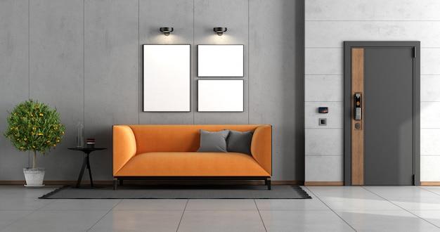 Entrada a la casa con puerta de entrada y sofá moderno naranja