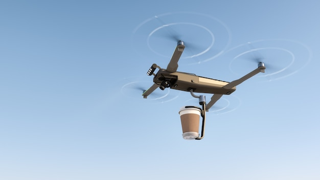 Entrega de bebida de café con un dron volador.