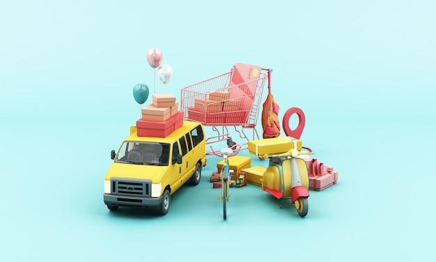 Entrega en moto scooter amarilla y furgoneta amarilla con aplicación móvil de ubicación