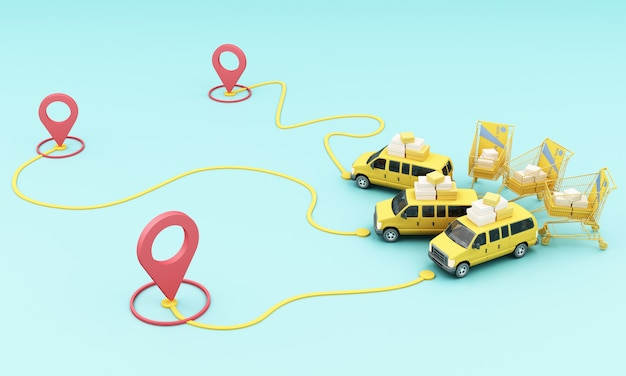 Entrega en moto scooter y furgoneta amarilla con aplicación móvil de localización