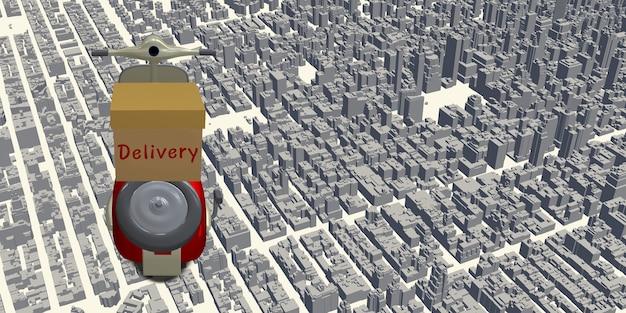 Entrega motocicleta punto del mapa de la ciudad pin localizador de coordenadas gps sistema de entrega en línea ilustración 3d