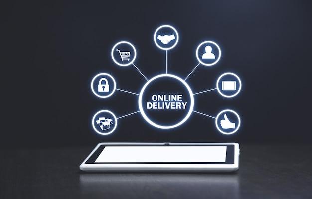 Entrega online. comercio electrónico y negocios