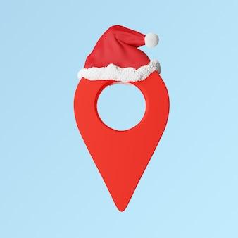 Entrega de regalos de navidad, mapas de punto rojo con gorro de santa. foto de alta calidad