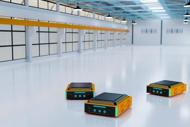 Entrega de robot autónomo con control inteligente, renderizado de ilustración 3d