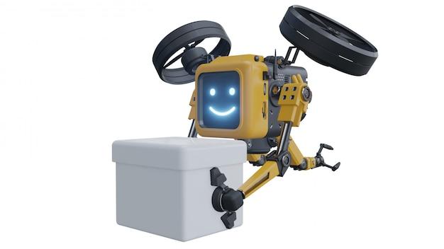 Entrega de suministros de robot drone. robot de transporte drone.