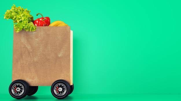 Entrega de la tienda de comestibles con una bolsa de la compra sobre ruedas con fondo verde
