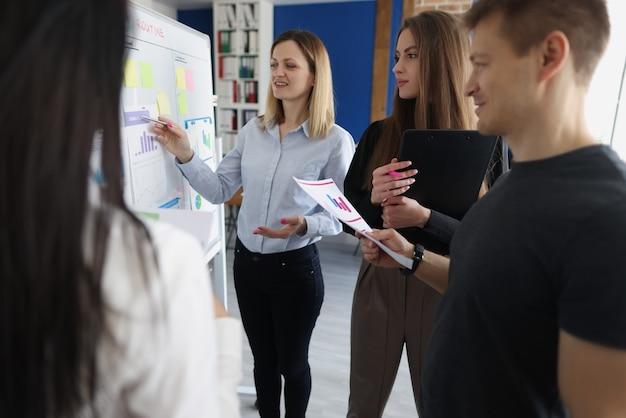 Entrenador de mujer joven que muestra información a bordo con gráficos para oyentes