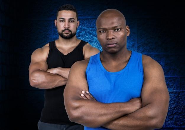 Entrenador muscular, pensando solo objeto azul