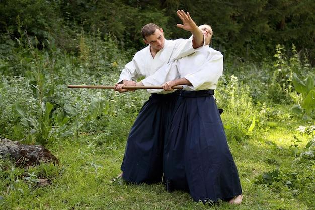 Entrenamiento de artes marciales aikido