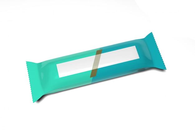 Envasado de barra de cereal sobre un fondo blanco ing