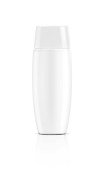 Envase en blanco cosmético protector solar tubo de plástico blanco aislado