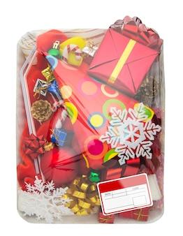 Envase de comida de plástico envuelto con caja de regalo