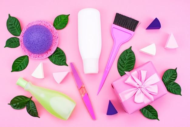 Envase cosmético botella de plástico champú crema gel de ducha leche verde hojas esponja caja de regalo arco