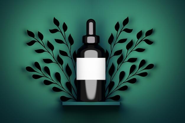 Envase individual de una botella grande de cosmética negra con una etiqueta vacía blanca y decoración de follaje. 3d ilustración