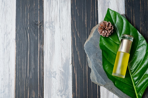 Envases de botellas de cosméticos naturales sobre fondo de hoja verde
