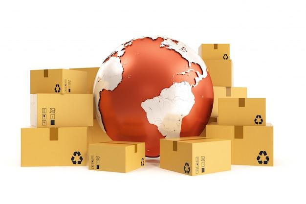 Envío de caja de cartón y concepto de negocio de entrega en todo el mundo, planeta tierra planeta. representación 3d los elementos de esta imagen son proporcionados por la nasa.