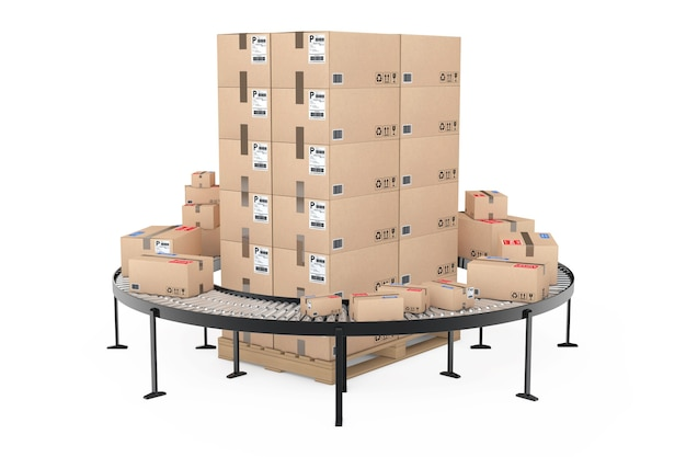 Envío global y concepto logístico. cajas de cartón en paleta de madera rodeadas de cajas con paquetería sobre transportador de rodillos sobre un fondo blanco. representación 3d.