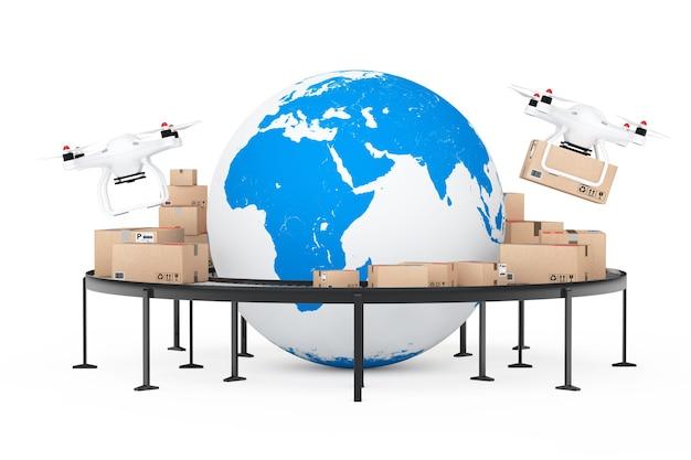 Envío global y concepto logístico. drones quadrocopter entregando un paquete cerca del globo terráqueo rodeado de cajas de cartón sobre un transportador de rodillos sobre un fondo blanco. representación 3d.
